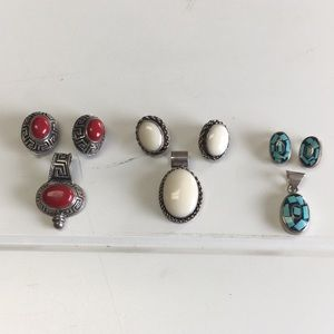 Jewelry - 3 pairs of Clip-on Earrings & Matching Pendants